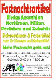Anzeige Sperl Fastnacht 2016 Flyer.
